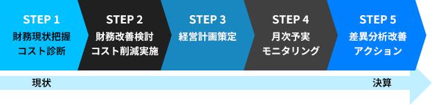 STEP 1 財務現状把握 コスト診断 STEP 2 財務改善検討 コスト削減実施 STEP 3 経営計画策定 STEP 4 月次予実 モニタリング STEP 5 差異分析改善 アクション 現状 決算